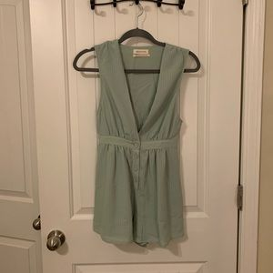 URBAN light green plunging romper